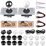 Gamelec 2 Players DIY Arcade Game Button and Joysticks Controller Kits for Rapsberry Pi and Windows,2X 5 Pin Joysticks,Black and White Each with 10 Buttons