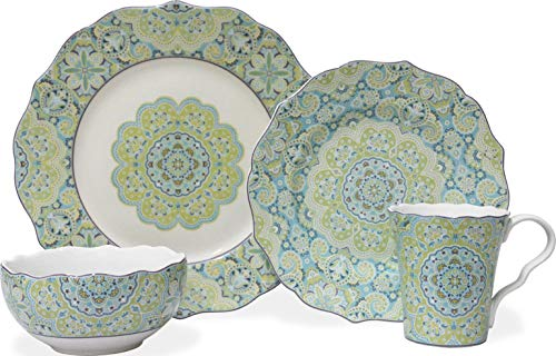 Lyria Teal 16 Piece Dinnerware Set ()