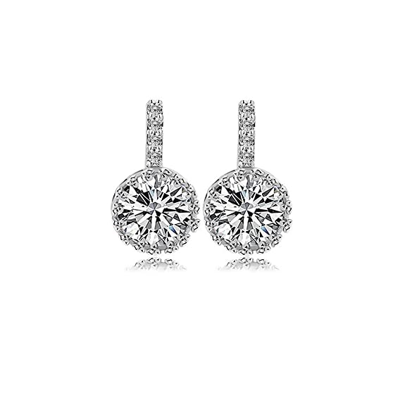 Platinum Plated 1CT Round Cut Hola Cubic Zirconia Stud Earrings, CZ Fashion Studs for Girls, CZ Stud Earrings, Fashion Earrings, CZ earrings, Cubic Zirconia Earrings, by CRYSTAL LEMON