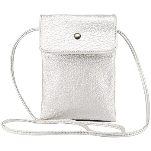 Price comparison product image Universal Crossbody Cell Phone Bag Multipurpose Soft PU Leather Carrying Cases Wallet Shoulder Pouch Bag for iPhone X / 8 7 6 Plus / 6S Samsung Galaxy S8 S7 S6 Edge Under 6.2 inchs Style2-Silver