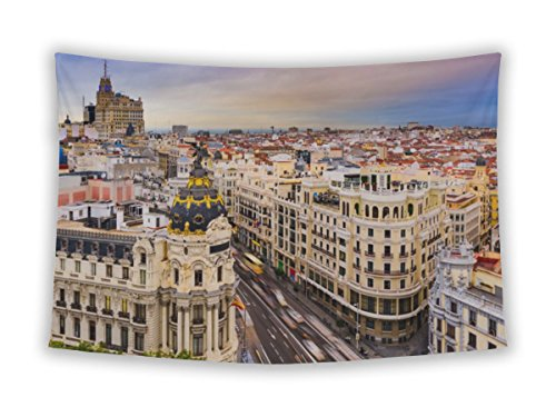 Gear New Wall Tapestry For Bedroom Hanging Art Decor College Dorm Bohemian, Madrid Spain Cityscape Above Gran Vishopping Street, 26x36 by Gear New