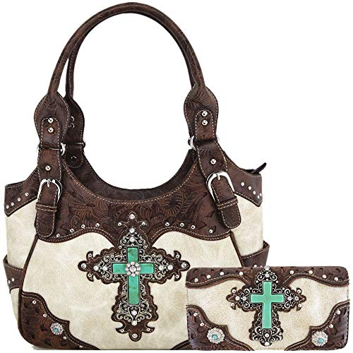 (Western Rhinestone Cross Tooled Leather Totes Concealed Carry Purse Handbag Women Shoulder Bag Wallet Set (#2 Beige Set) )