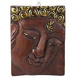 AeraVida Small Buddha Face Hand Carved Mango Wood Wall Art (Brown)