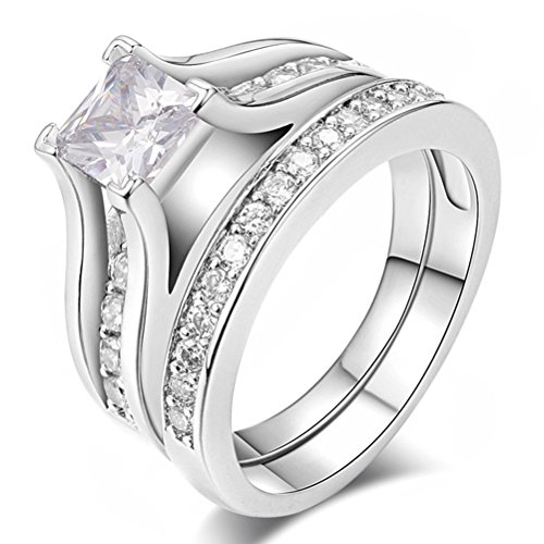 Womens Wedding Engagement Bands Ring Sets 18K White Gold Plated Princess Cut (Antique Eternity Wedding Ring)