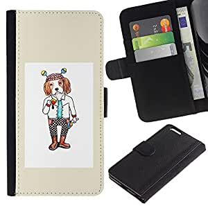 ARTCO Cases - Apple Iphone 6 PLUS 5.5 - Cute Cartoon Hipster Spaniel Dog - Slim PU Leather Wallet Credit Card Case Cover Shell Armor