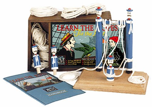 - LEARN THE ROPES: TIE THE KNOT KIT [ Wooden Box Includes: Handbook / Wood Tying Stand with Sailor Pegs / Lots of Rope ]