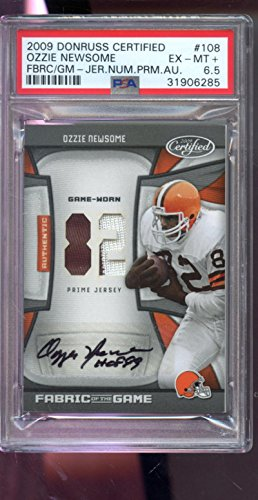 2009 Donruss Certified Fabric Of The Game Ozzie Newsome 2/5 Jersey AUTO Autograph Graded Card PSA 6.5
