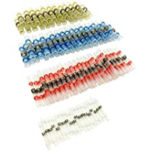 50pcs Solder Seal Wire Connector, Sopoby Solder Seal Heat Shrink Butt Connectors Terminals Electrical Waterproof Insulated Marine Automotive Copper(23Red 12Blue 10White 5Yellow)