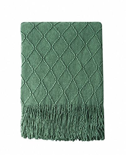 Bourina Green Throw Blanket Textured Solid Soft Sofa Couch Decorative Knitted Blanket, 50