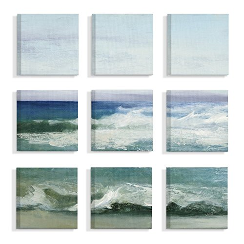 "The Stupell Home Decor Collection"" Blue Cresting Waves Ocean Horizon Stretched Canvas Wall Art, Multicolor made in New England"