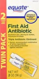 Equate Triple Antibiotic First Aid Ointment, 1 Ounce, Twin Pack