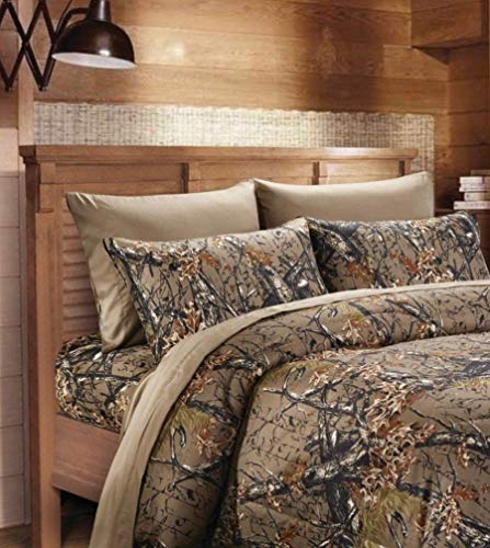 - 6 Piece Queen Sheet Set Reversible Woodland Camo / Solid Color Design