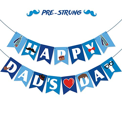 Bessmoso Happy Dads Day Banner | Pre-Strung Fathers Day Party Decorations | Fathers Day Family Celebration Supplies Photo Prop Gift from Sons or ()