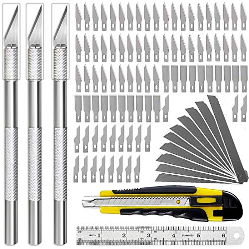 105 Pcs Exacto Knife Upgrade Precision Carving Craft Knife Art Knife Hobby Knife Set 100 Exacto Blades