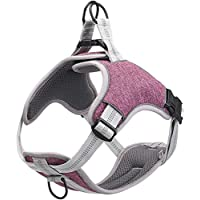 Adjustable, non-pull dog harness, reflective pet vest for dogs, easy control for small, medium and large dogs (L, Purple)