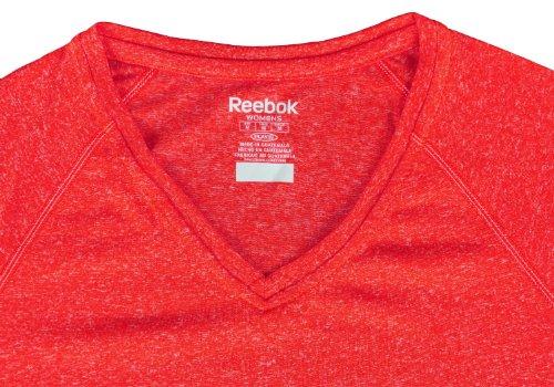 Reebok Speedwick para mujer Athletic camiseta de bajera ajustable Heathered Red