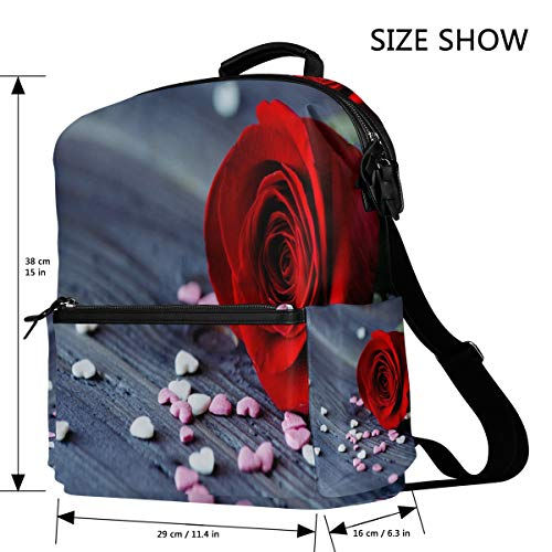 7779a5bf136b Amazon.com: Rose Heart Wallpaper Backpack Womens Laptop Daypack ...