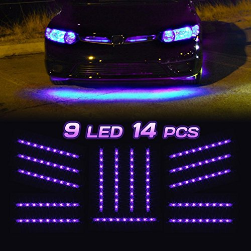 Partsam Universal Purple Underglow Led Strip Bar Kit|Waterproof Ultra Bright |Plug & Play All Accessories Included