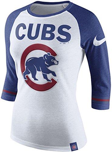Chicago Cubs Nike Women's Logo Blocked 1.6 Tri-Blend V-Neck T-Shirt - Royal (Medium)