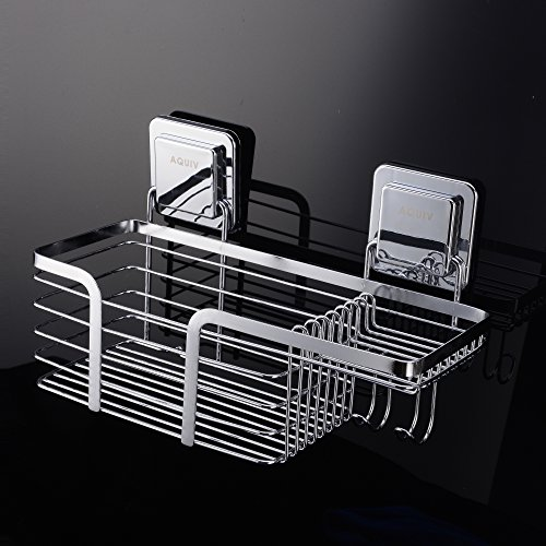 Stainless Steel Shower Caddy Bathroom Organizer Basket for Shampoo with Soap Holder and Hooks (Shower Bathroom Soap)