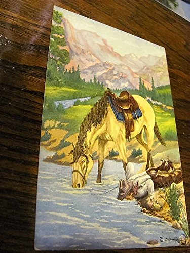 cowboy postcard, artist signed L. H. Larsen, dated 1939
