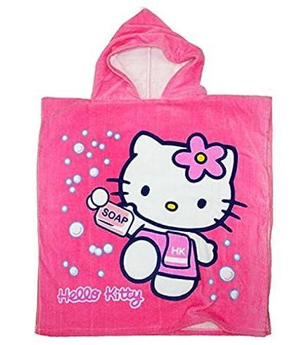Hello Kitty Infantil Toalla Poncho Con Capucha - Rosa Fucsia, piel sintética