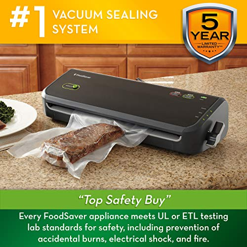 FoodSaver FM2000 Vacuum Sealer Machine with Starter Bags Rolls Safety Certified Black – FM2000-FFP