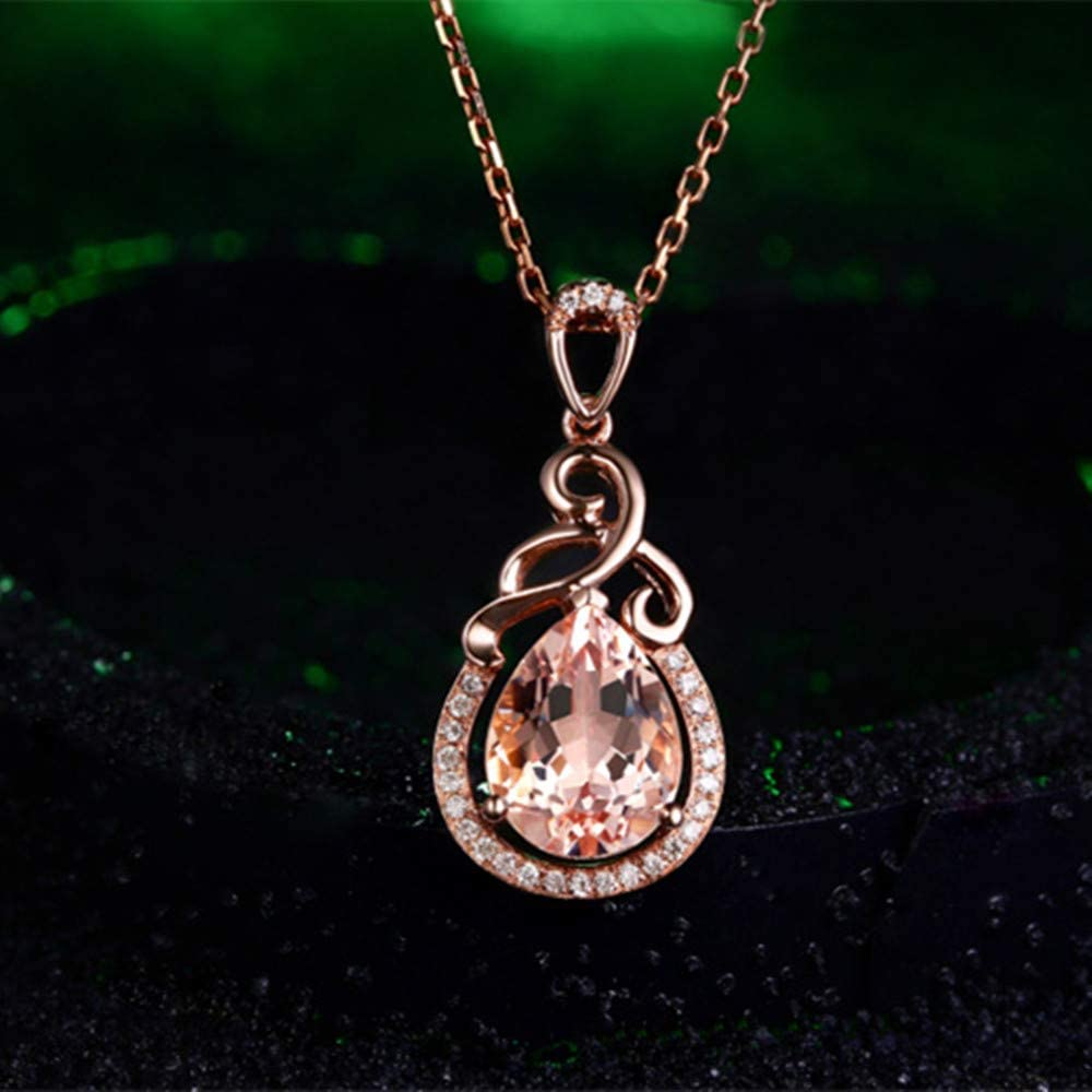 YOUMIYA Imitation Natural Morgan Stone Pendant Fashion Necklace Clavicle Chain Necklace Stainless Steel Crystal Necklace Birthday Gifts For Women Rose Gold Necklace For Women PINK