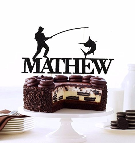 Fishing Cake Topper, Fisherman Cake Topper, Fishing Groom Topper, Fishing Pole With Personalized Name, Fisherman Gift Idea, Fishing Gift]()