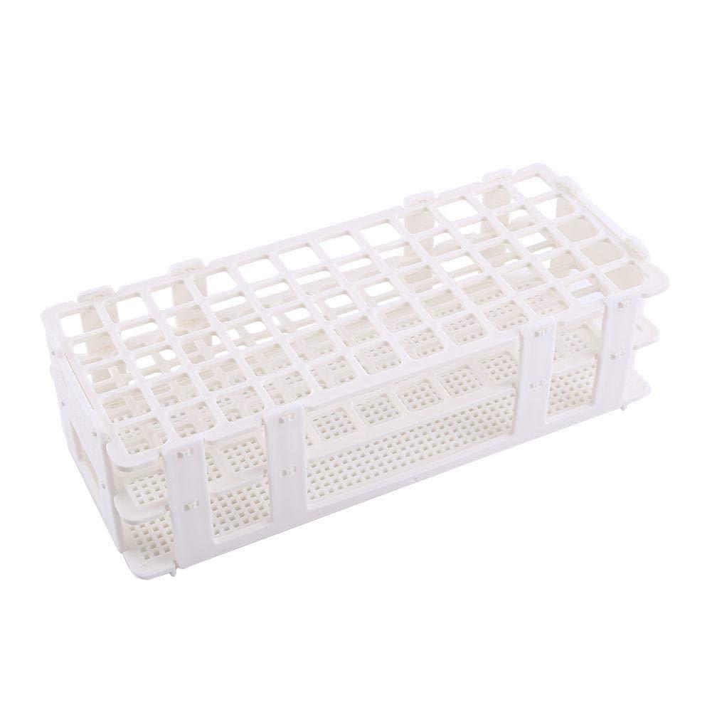 Rack per provette in plastica per tubo da 16 mm, supporto per supporti da 60 fori per laboratorio Lab 3 strati (bianco) Haofy