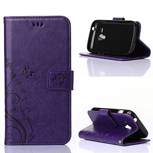 COOLKE Retro Mariposas Patrón PU Leather Wallet With Card Pouch Stand de protección Funda Carcasa Cuero Tapa Case Cover para Samsung Galaxy S Duos S7562 - Rose púrpura