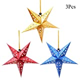 TTVOVO Paper Star Lantern 3D Pentagram Lampshade for Christmas Xmas Party Holloween Birthday Home Hanging Decorations Colorful 11.8 Inch 3PCS