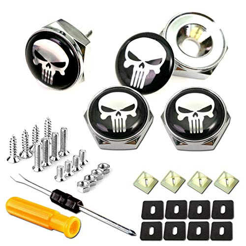 License Plate Screw Bolt Caps- Logo Billet Metal Car License Plate Bolts Frame Screw Cover with Black Skull Sticker, License Plate Frame Security Fastener Kit with Anti-Rattle Foam Pads ()