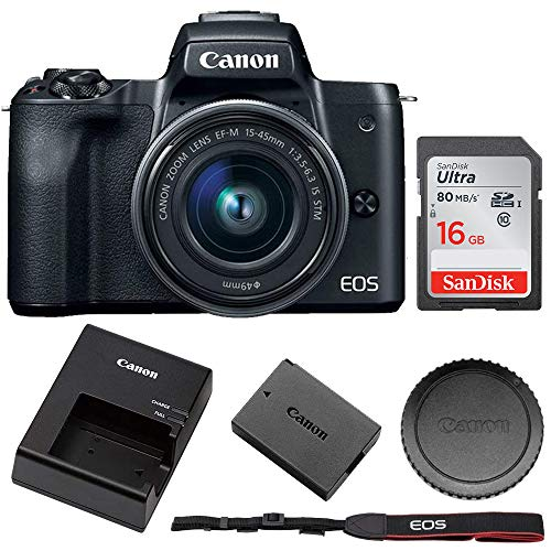 Canon EOS M50 Mirrorless Digital Camera with 15-45mm Lens + 16GB Memory Card