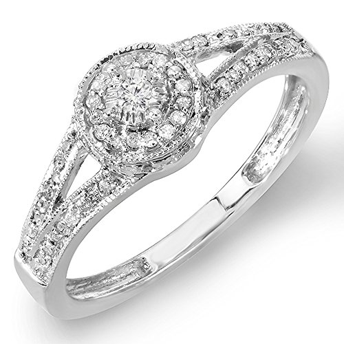 0.25 Carat (ctw) Sterling Silver Round Diamond Ladies Split Shank Engagement Ring 1/4 CT (Size 8) by DazzlingRock Collection