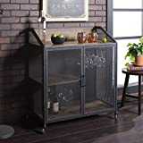 WE Furniture AZU33SOIBCRO Bar Cabinet, 33' L x 17' W x 38' H, Rustic Oak