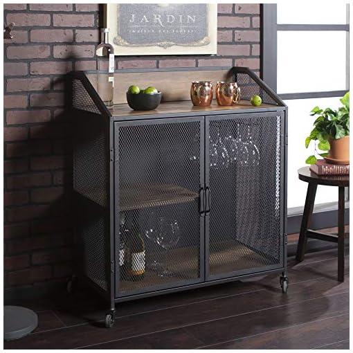 Home Bar Cabinetry Walker Edison Malcomb Urban Industrial Metal Mesh Double Door Rolling Bar Cabinet, 33 Inch, Rustic Oak home bar cabinetry