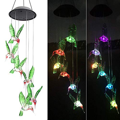 Ninite Solar Wind Chimes Outdoor Waterproof, Color Changing Mobile Hummingbird Wind Chimes, Hanging Solar Lights for Home, Patio, Lawn, Garden, Yard ()