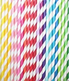 200 Striped Drinking Paper Straws Assorted Multi Colored Rainbow Party Favor Straws 7 3/4 Inch Disposable Summer Party Fun Decoration Straws.