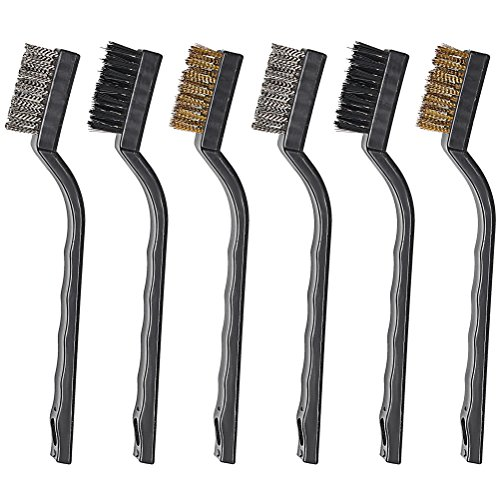 Pengxiaomei 6 Pieces Mini Wire Brush Set, Stainless Steel and Brass for Cleaning Welding Slag and Rust