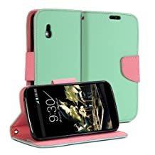 GMYLE (R) Wallet Case Classic for LG Nexus 4 - Mint Green & Pink Cross Pattern PU Leather Slim Magnetic Flip Stand Cover