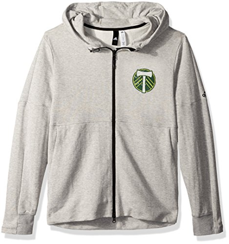 adidas MLS Portland Timbers Ultimate Worn French Terry Full Zip Jacket, Large, Medium Grey