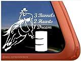 window decals racing - 3 Barrels, 2 Hearts, 1 Dream Cowgirl Barrel Racing Horse Trailer Vinyl Window Decal Sticker