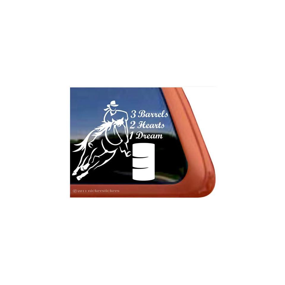 3 Barrels, 2 Hearts, 1 Dream Barrel Racing Horse Trailer Vinyl Window Decal Sticker