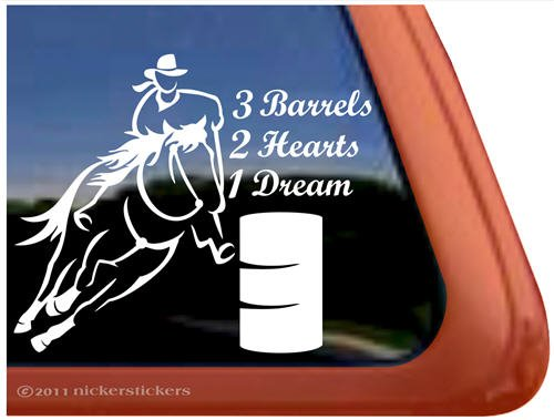 3 Barrels, 2 Hearts, 1 Dream Cowgirl Barrel Racing Horse Trailer Vinyl Window Decal (Cowgirl Barrel)