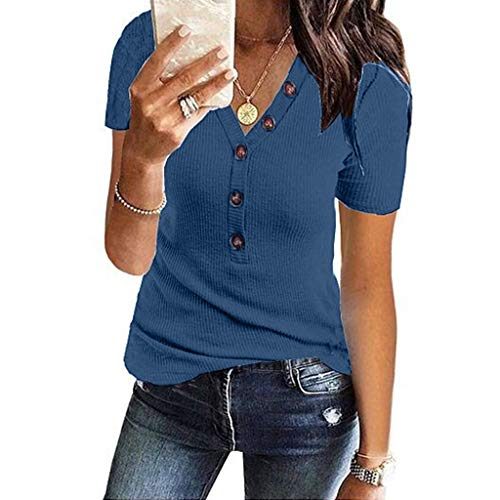Womens Henley Shirts Shape V Neck Short Sleeve Stretch Button Down Tops SADUORHAPPY Knit ()