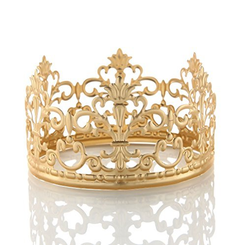Vintage Gold Crown Cake Topper Queen Princess Cake Photo Party Baby Decor (Matte Rose Gold) ()