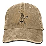 WYFQ501 Astronomy Telescope Men's Women's Adjustable Jeans Baseball Hat | Denim Fabric Dad Hats