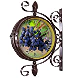 wine and grape kitchen clock - girlsight Wrought Iron Antique-Round Clock Wall Retro Station Chandelier Double Sided Wall Clock -360 Degree Quiet Grand Central Station Wall Clock405.Grapes, Red Wine, Vineyard, Trollinger