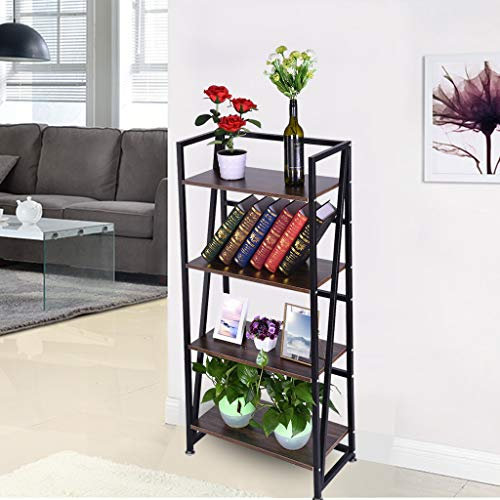 LLJEkieee Bookshelf Rack 4-Tiers Antique Teak Color Bookcase Home Office Shelf Storage Rack for Books, Family Photos, Frames, Devices, Utensils Or Plants 23.6x11.8x49.4 Inches MDF&Metal